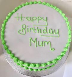 Lime Green & White Icing Birthday Cake