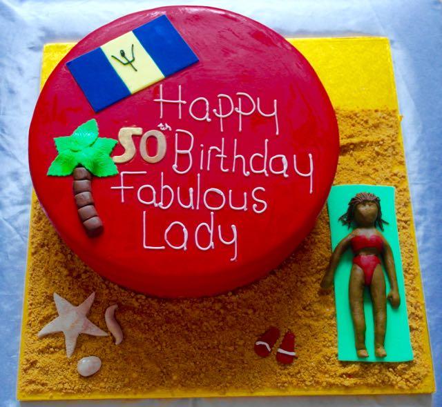 Beach Themed 50th Birthday Cake