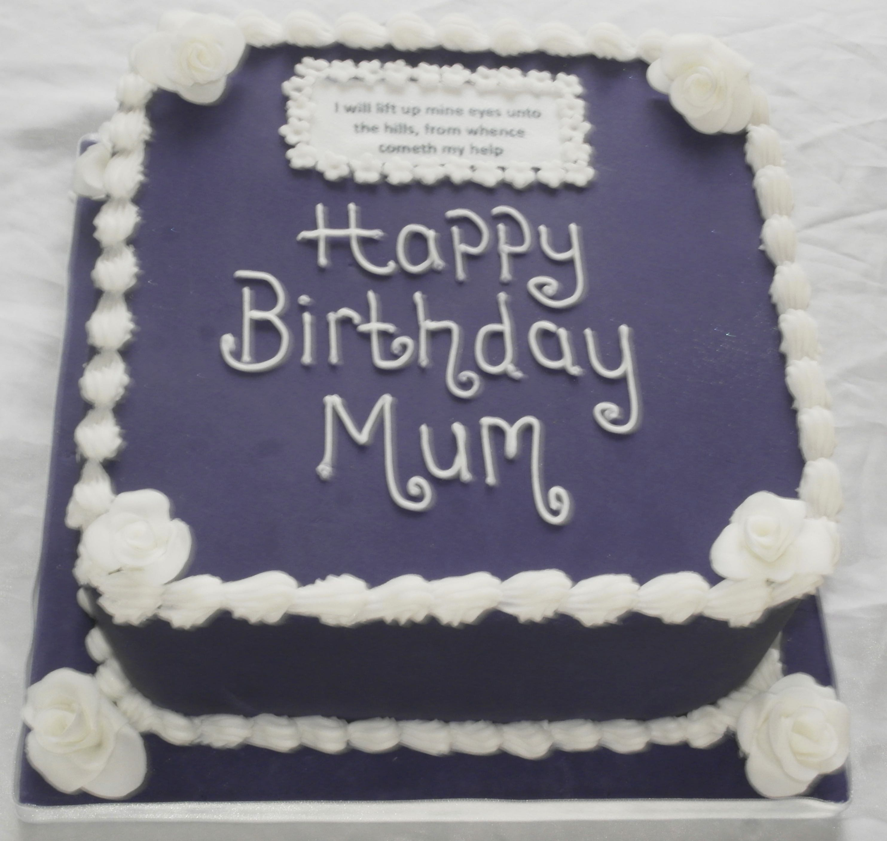 Birthday Cake for Mum with Bible Verse
