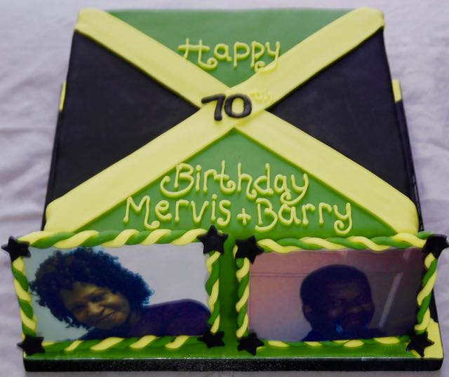 70th Birthday Jamaica flag cake
