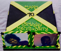 70th Birthday Jamaica flag cake