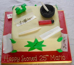 Weed Themed 25th Birthday Cake