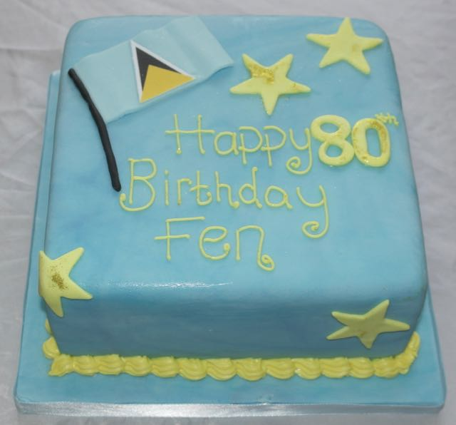 St Lucia Flag 80th Birthday Cake