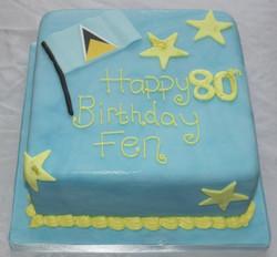 St Lucia Flag 80th Birthday Cake