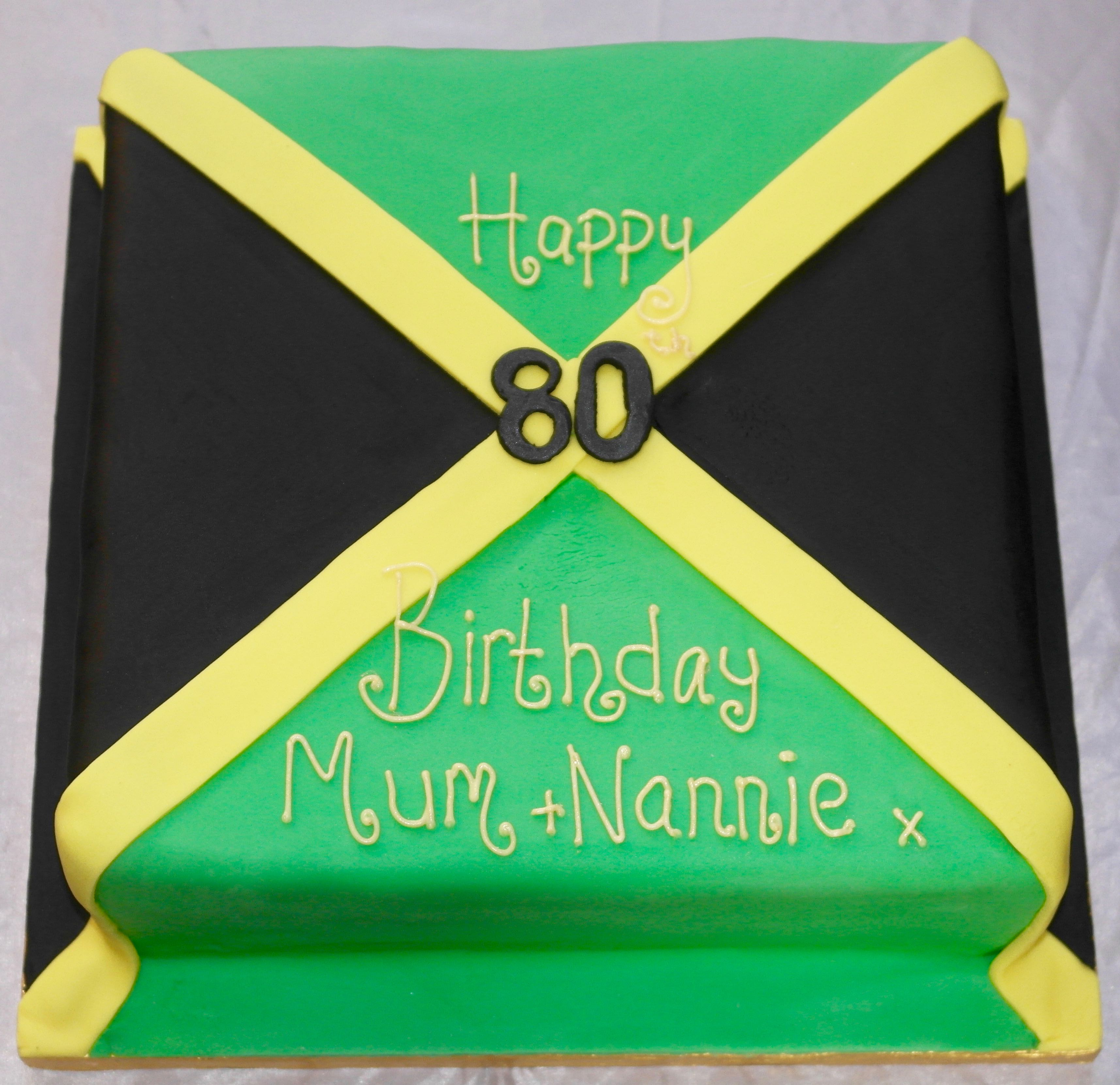 Jamaica Flag 80th Birthday Cake