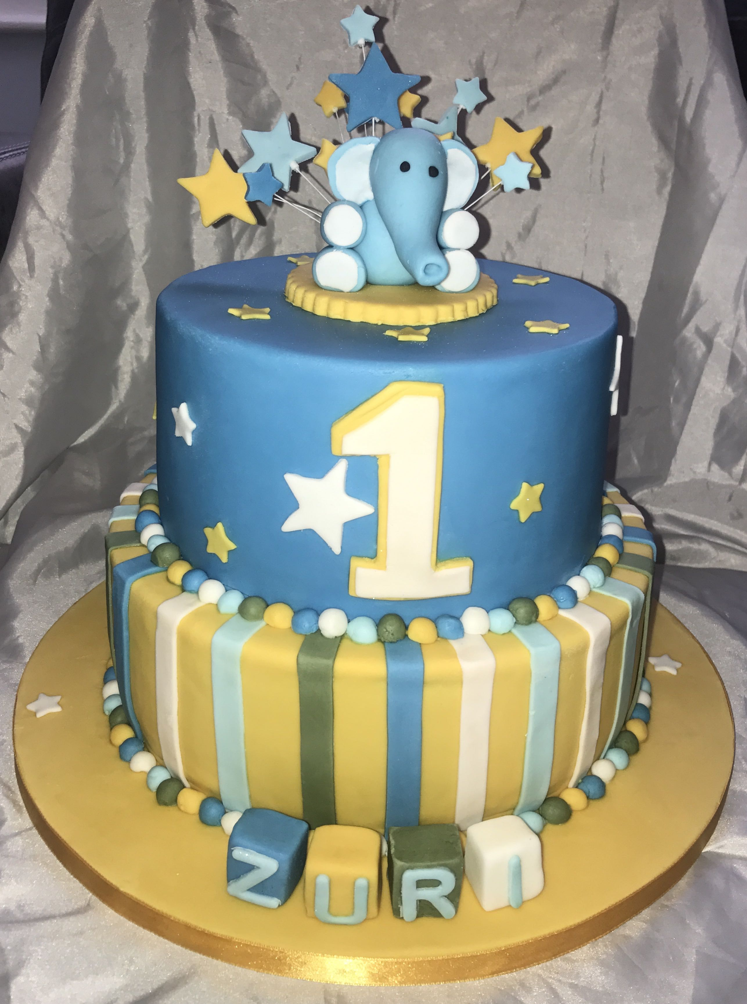 2 Tier 1st Birthday Cake
