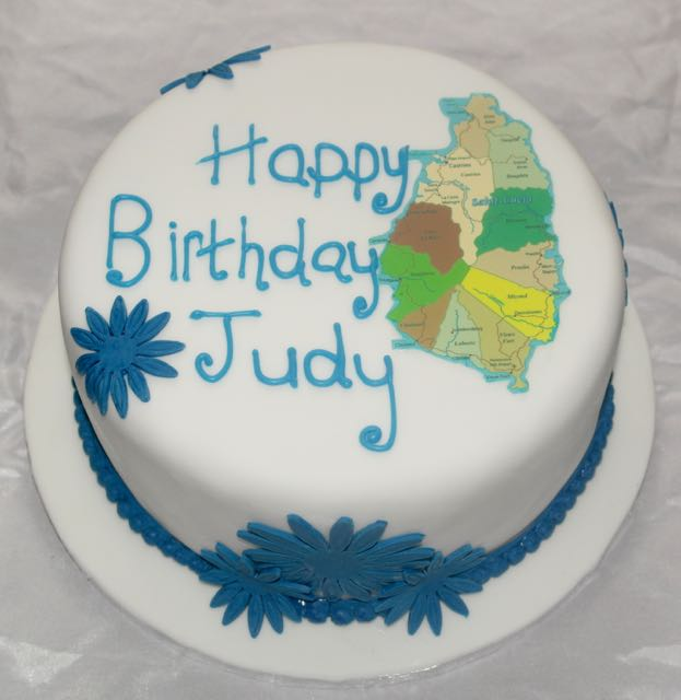 Map of St Lucia Birthday Cake