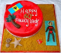 Barbados Flag 60th Birthday Cake