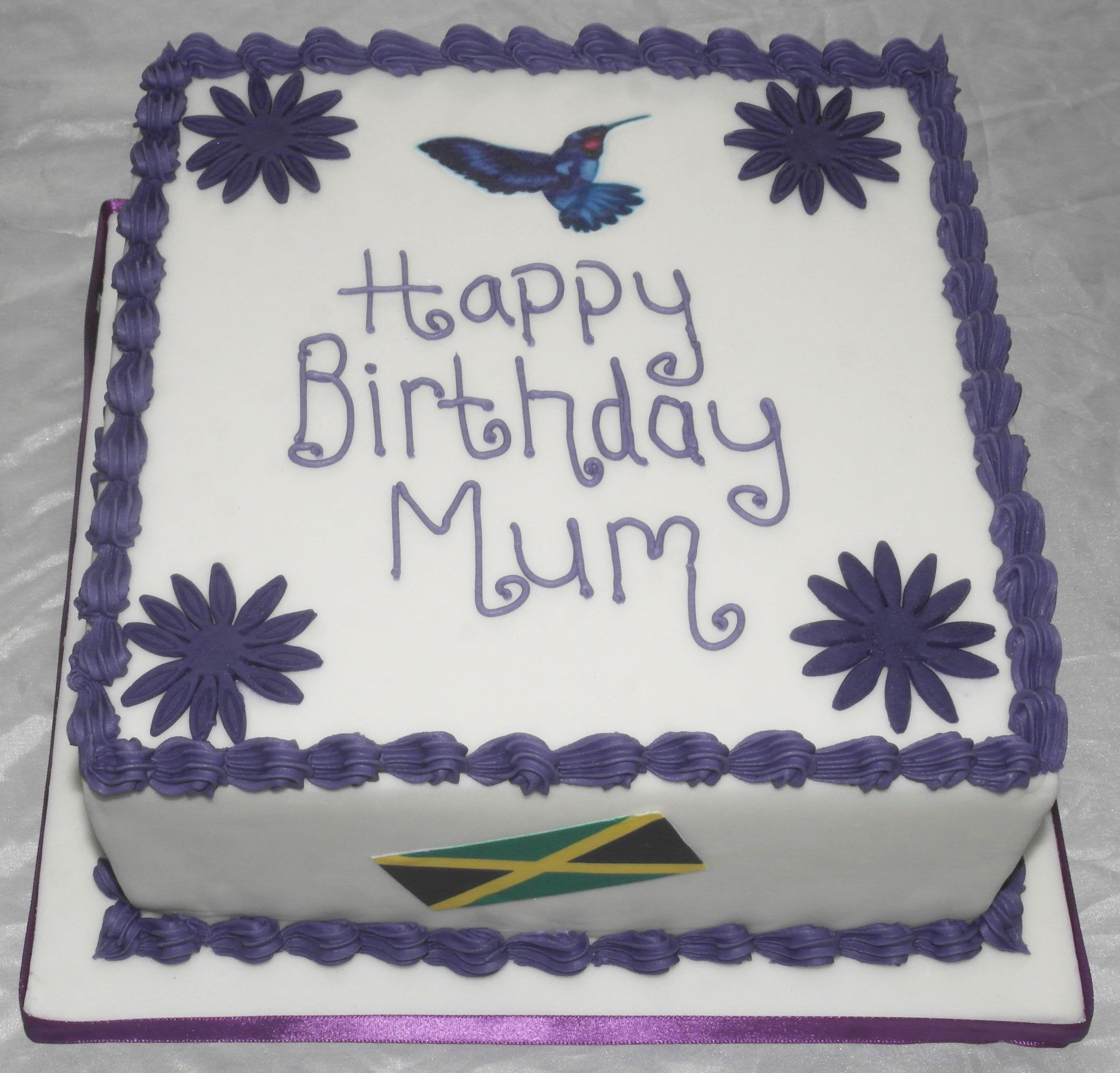 Jamaica Flag and Hummingbird Birthday Cake