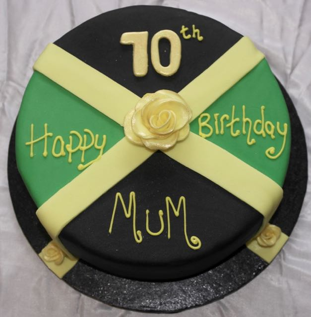 Jamaica Flag 70th Birthday Cake