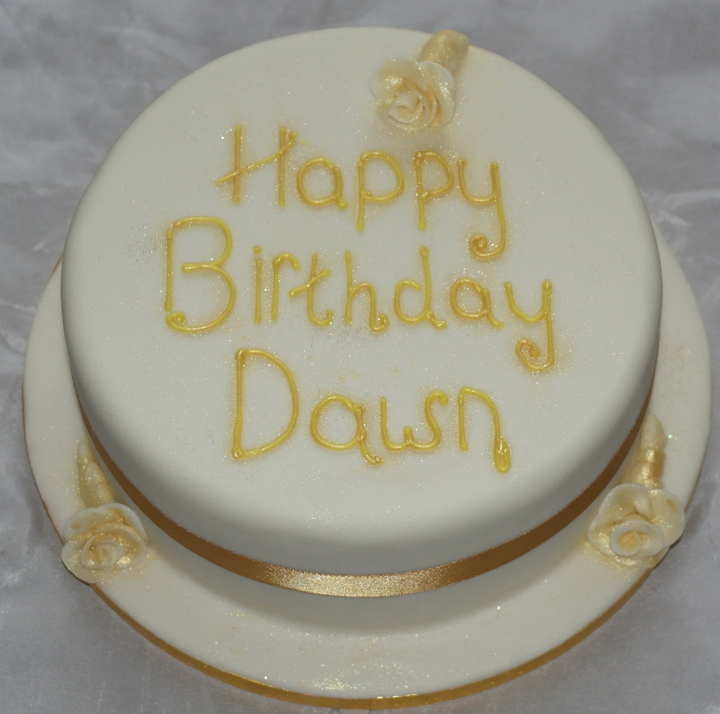 White and Gold Birthday Cake