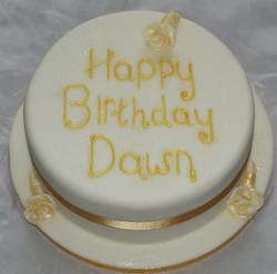 White and Gold Birthday Cake