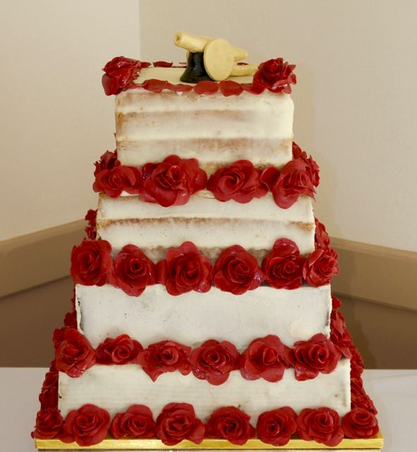 4 tier Naked wedding cake