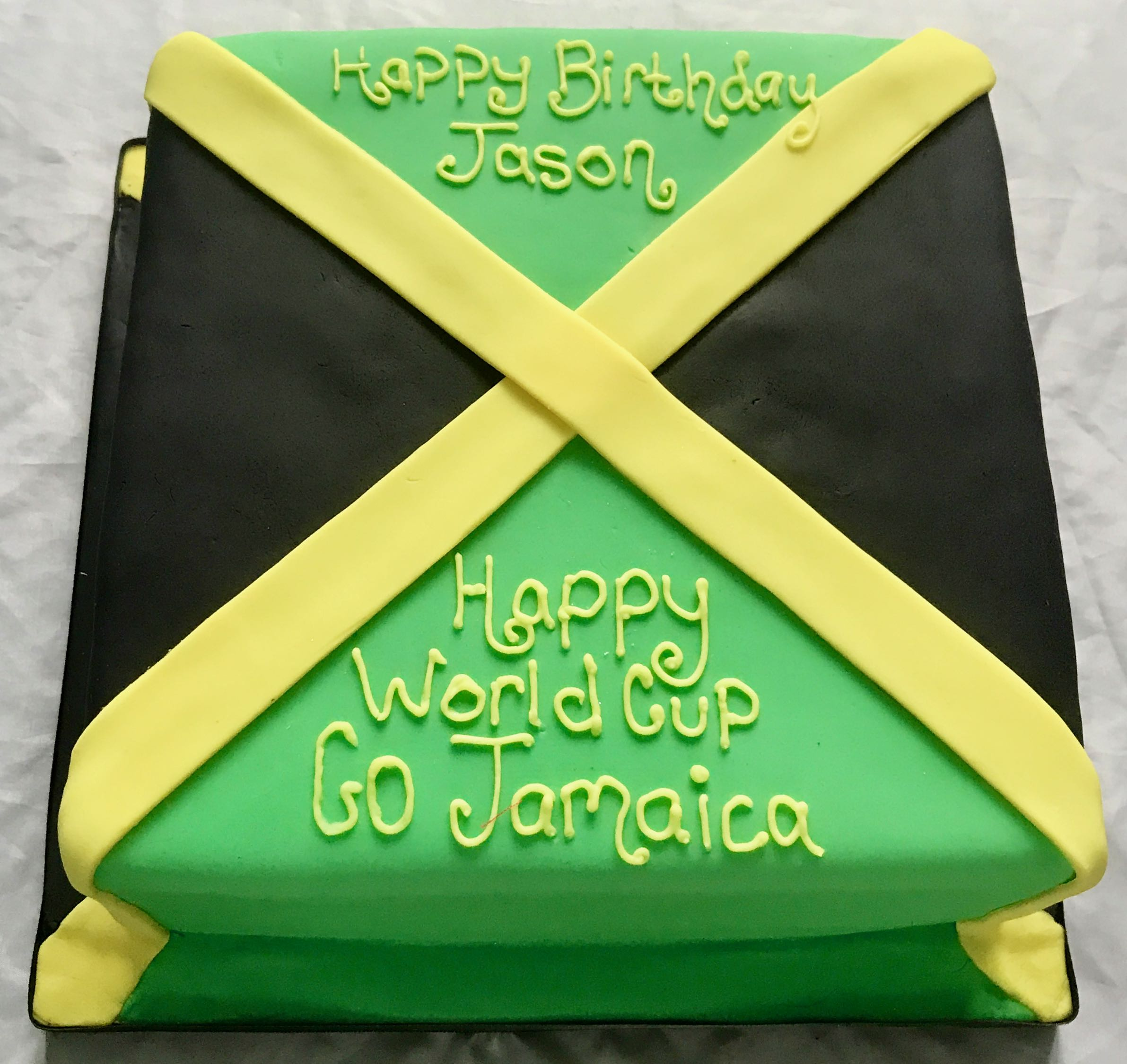 World Cup Jamaica Flag Cake