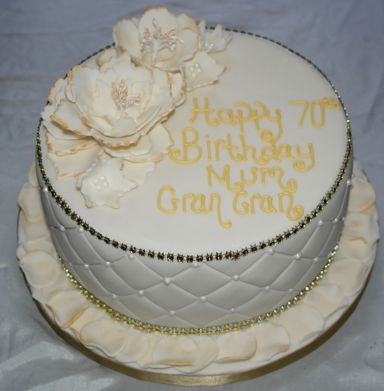 70th Birthday large flowers Cake
