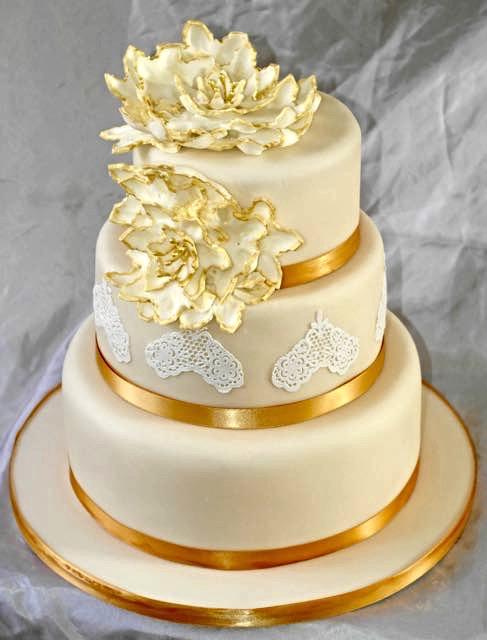 3 Tier Peony Wedding Cake