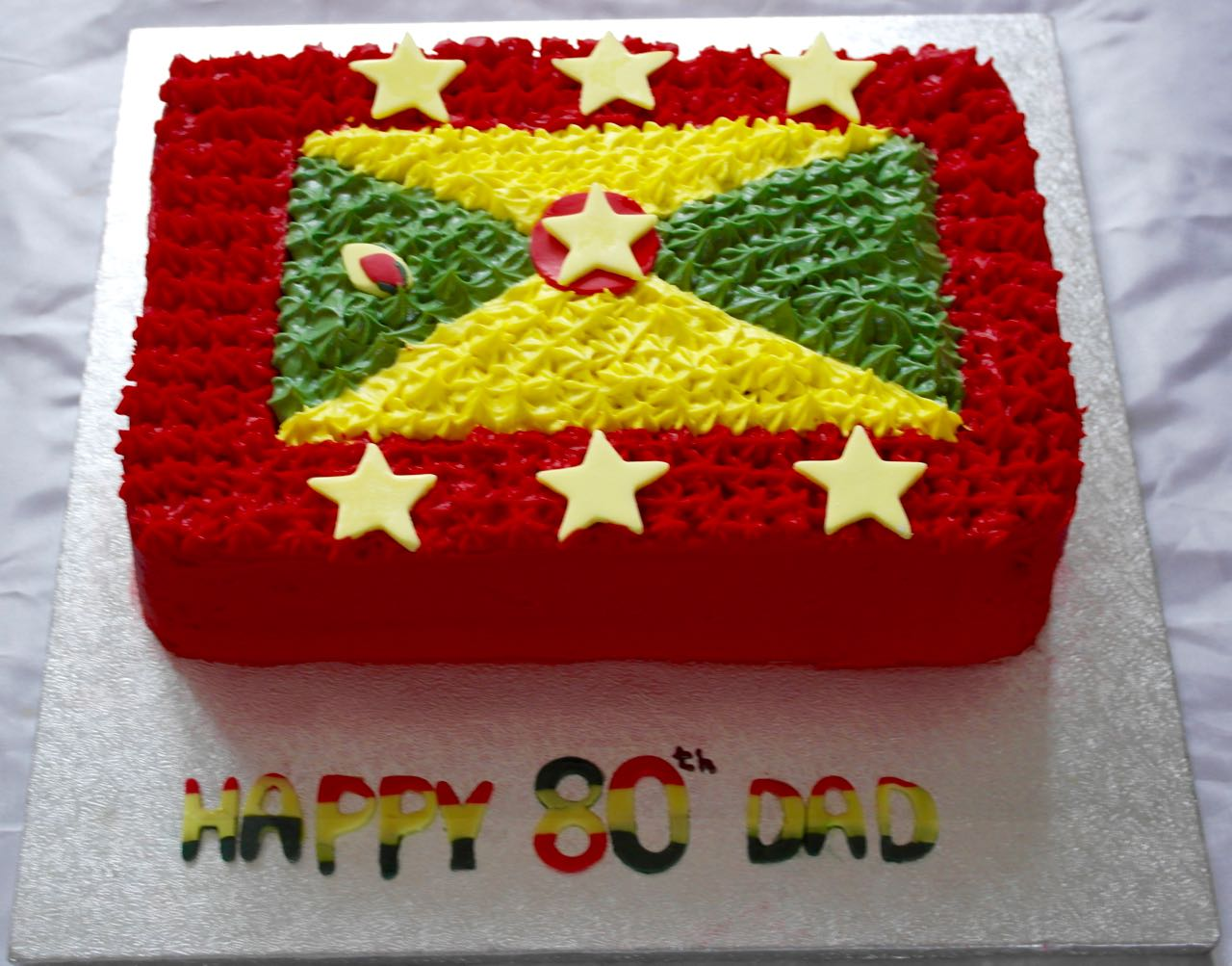 Grenada Flag 80th Birthday Cake