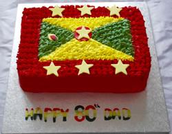 Grenada Flag 80th Birthday Cake