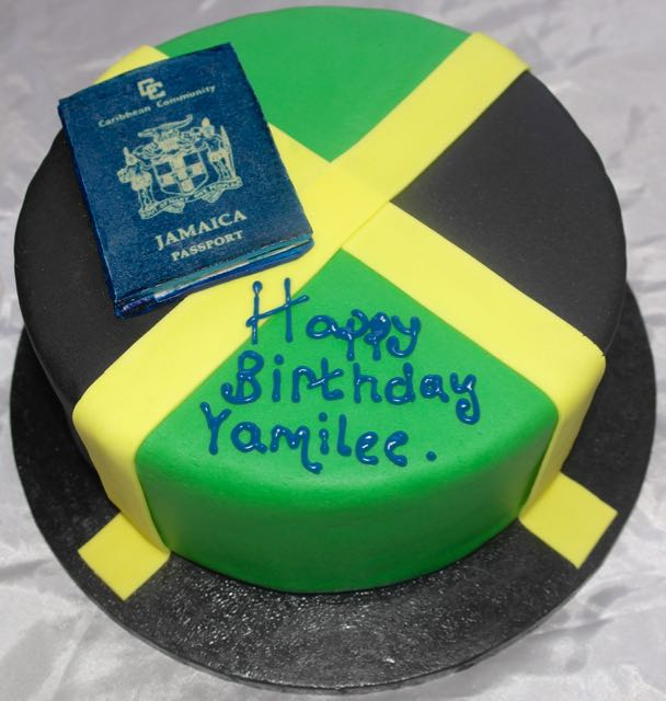 Jamaica Flag & Passport Birthday Cake