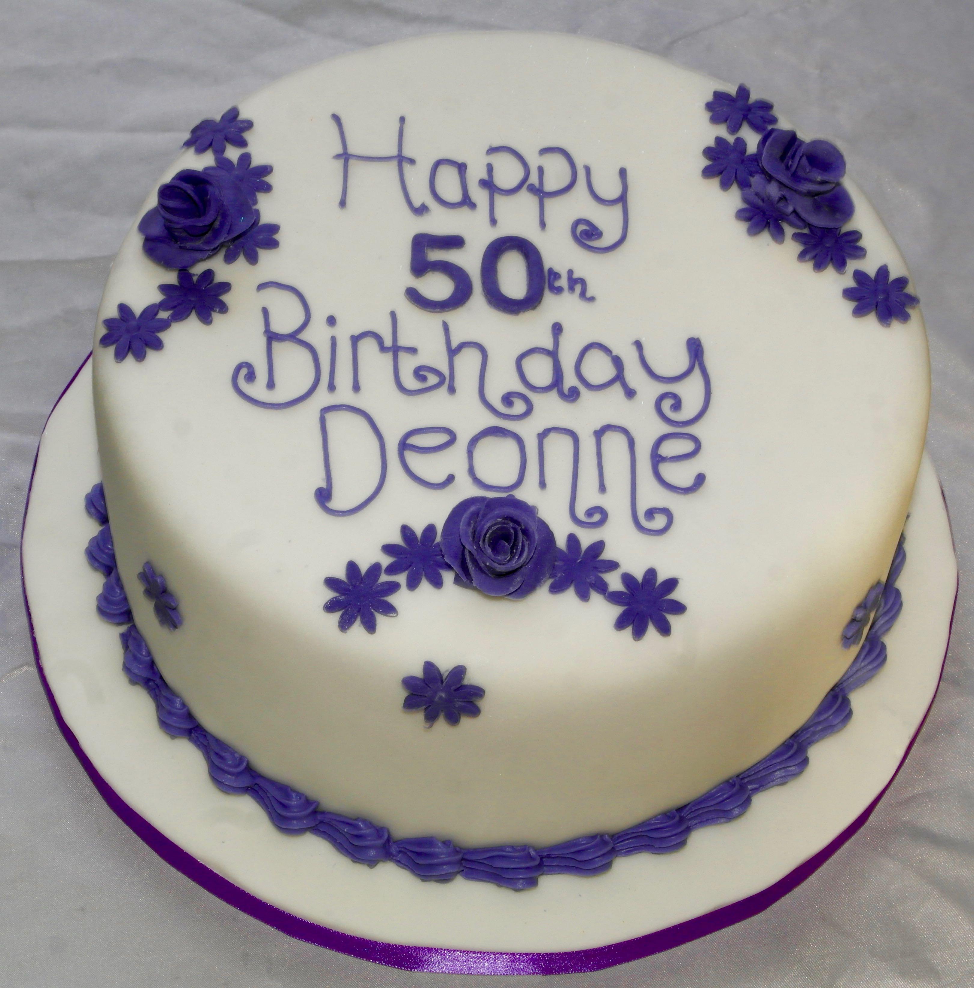 50th Birthday Cake with Purple Trim