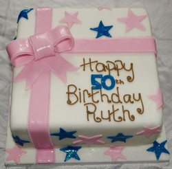 50th Birthday Bow Wedding Cake