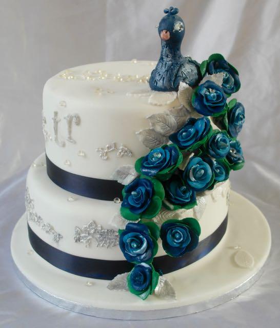 2-tier peacock cake