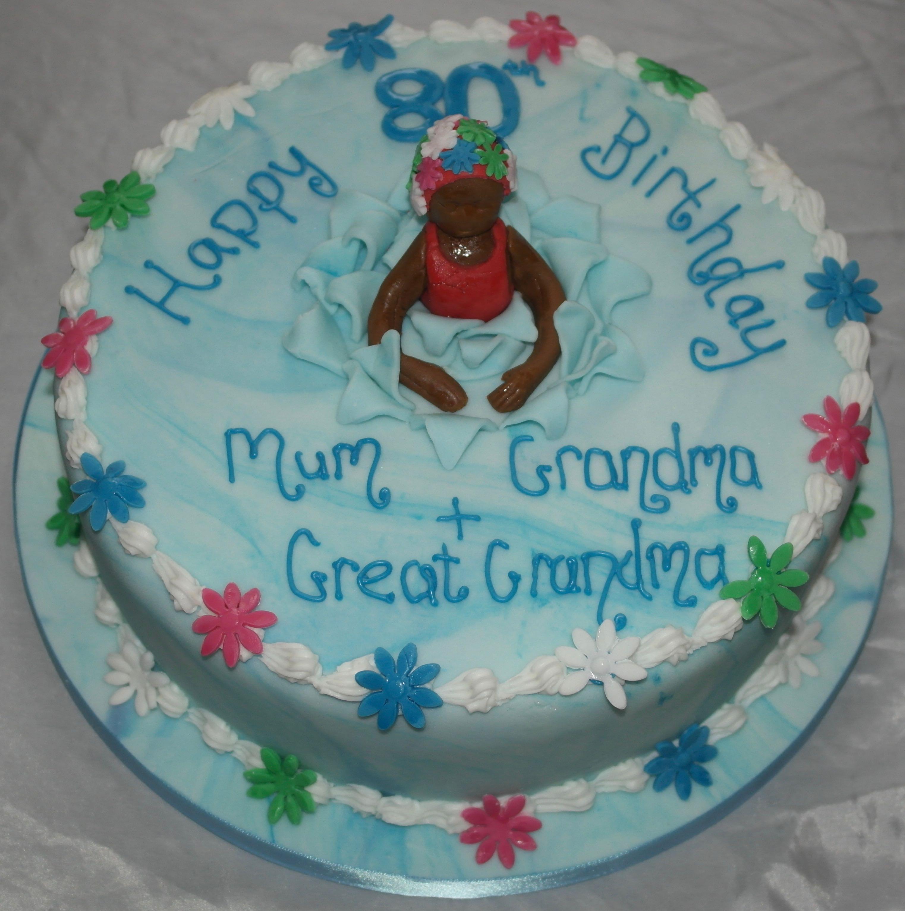 80th Birthday Swimming Theme Cake