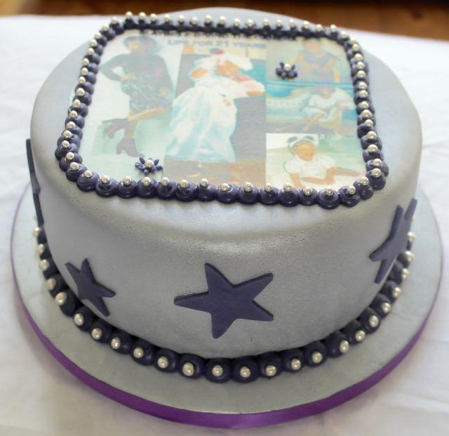 silver photo birthday cake