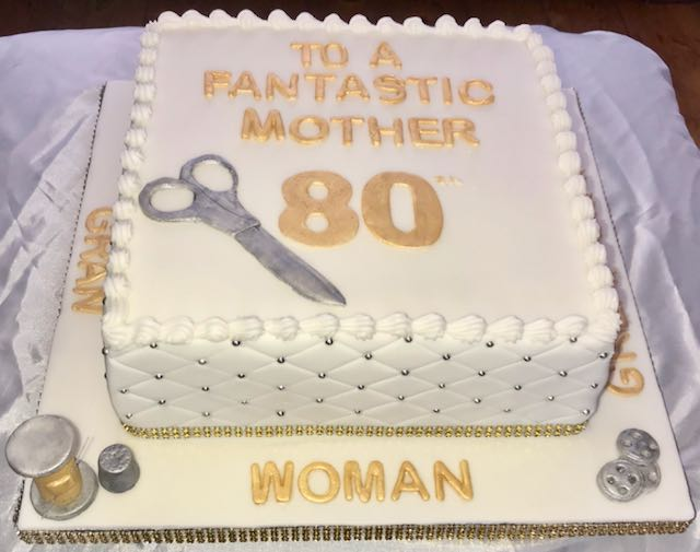 80th Birthday Seamstress Cake