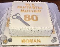 80th Birthday Seamstress Cake