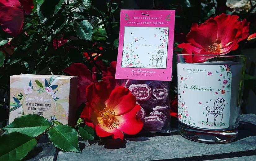"""Collection """"la roseraie"""" senteurs de france - bougie et bonbons"""