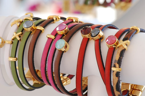 Bracelets cuir et cristal de Swarovski - BAYADÈRE