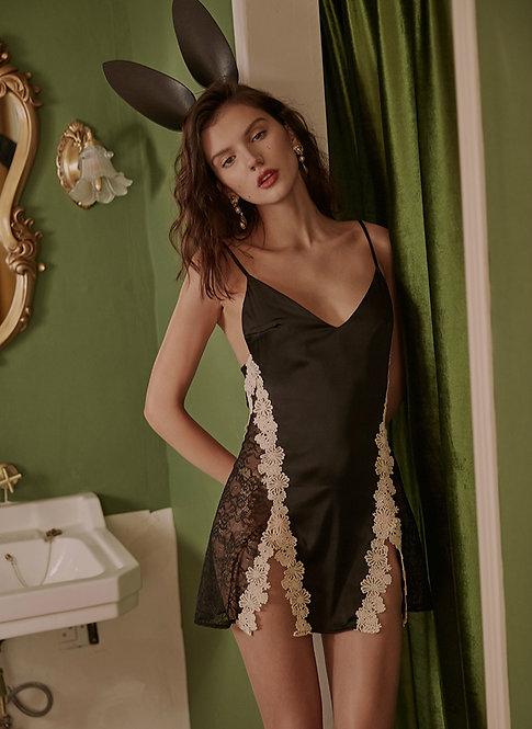 Silk Night Dress Slits Temptation Female Open-back