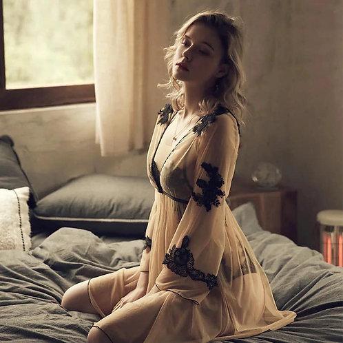 Nightgown Women Pijamas Dress Robe Lingerie Set