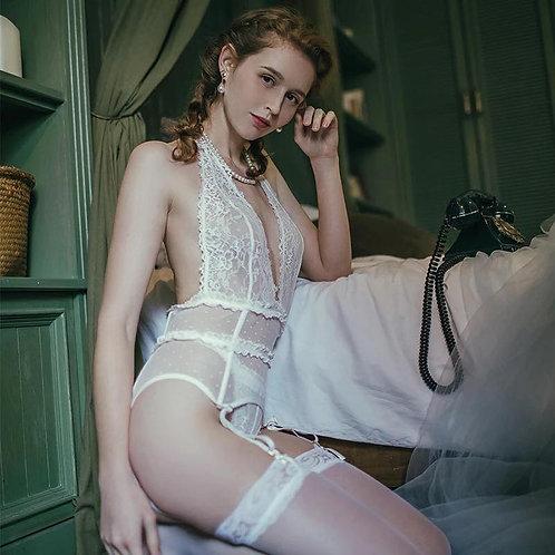 White Black Backless Halter Erotic Lingerie Ladies