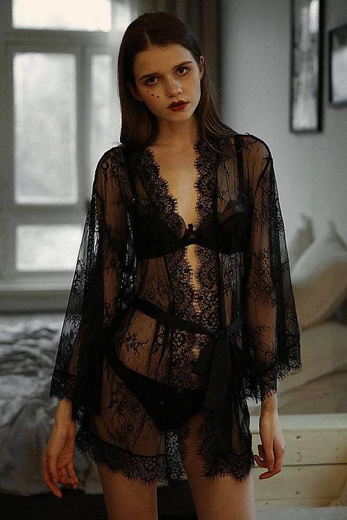 Robes Black Sexy Pyjamas Lace