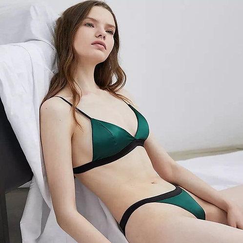 Sexy Bra Set White and Green