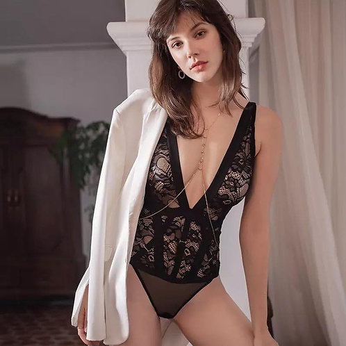 nightclub casual bottoming ultra-thin soft lace bodysuit high quality