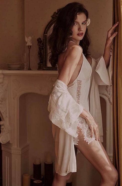 Female bride Morning Sets Satin Ice Silk Thin Robe and Nightdress Pajamas Set