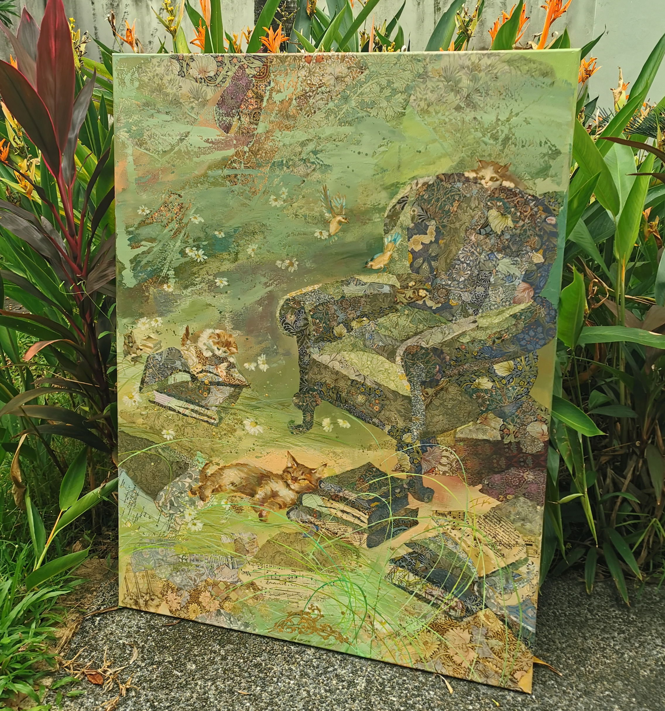 """Alice`s green armchair"" 2020, 100x76cm, S$4980"