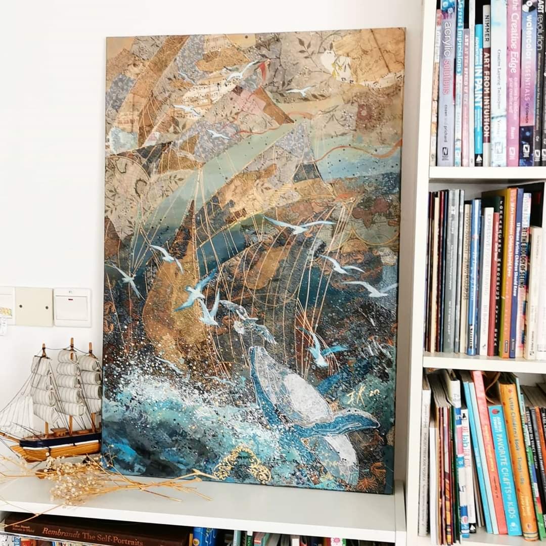 """Song of the ocean"" 2020, 60x90cm, S$2980"
