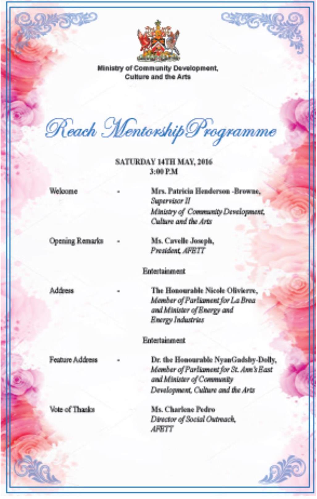 Ministry Mentorship Ceremony Programme