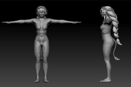 Sculpt: Huldra Front and Side