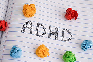 ADHD. Abbreviation ADHD on notebook shee