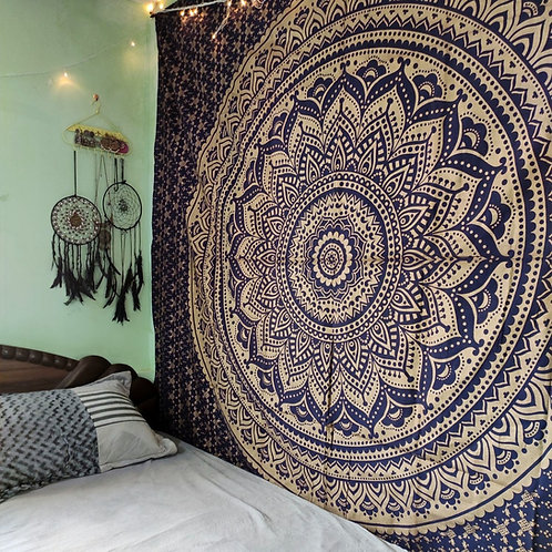 Midnight Blue and Golden Mandala Tapestry