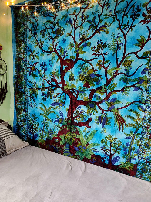 Tree Of Life Tapestry Blue