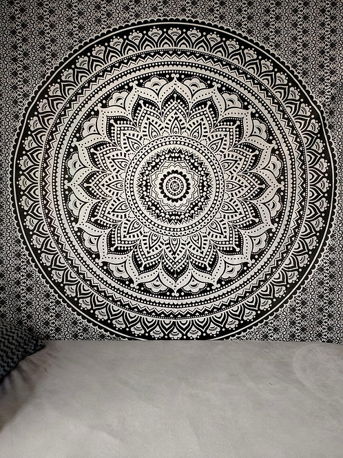 Black And White Ombre Mandala Tapestry
