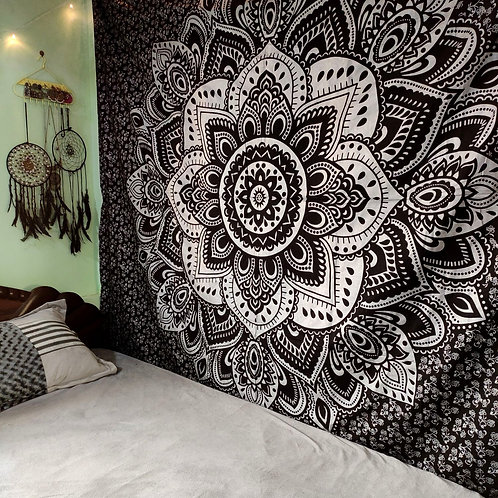 Silver and Black Floral Mandala Tapestry