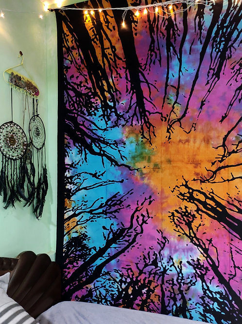 Tie and Dye Forest Tapestry
