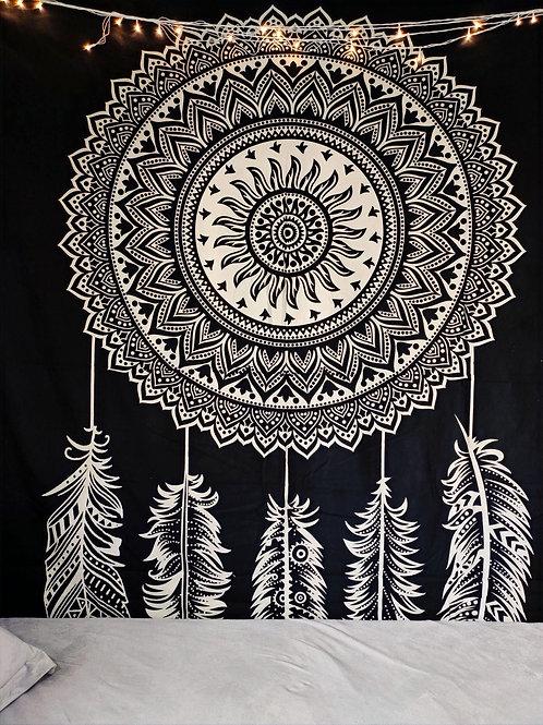 Dream Catcher Tapestry In Black & White